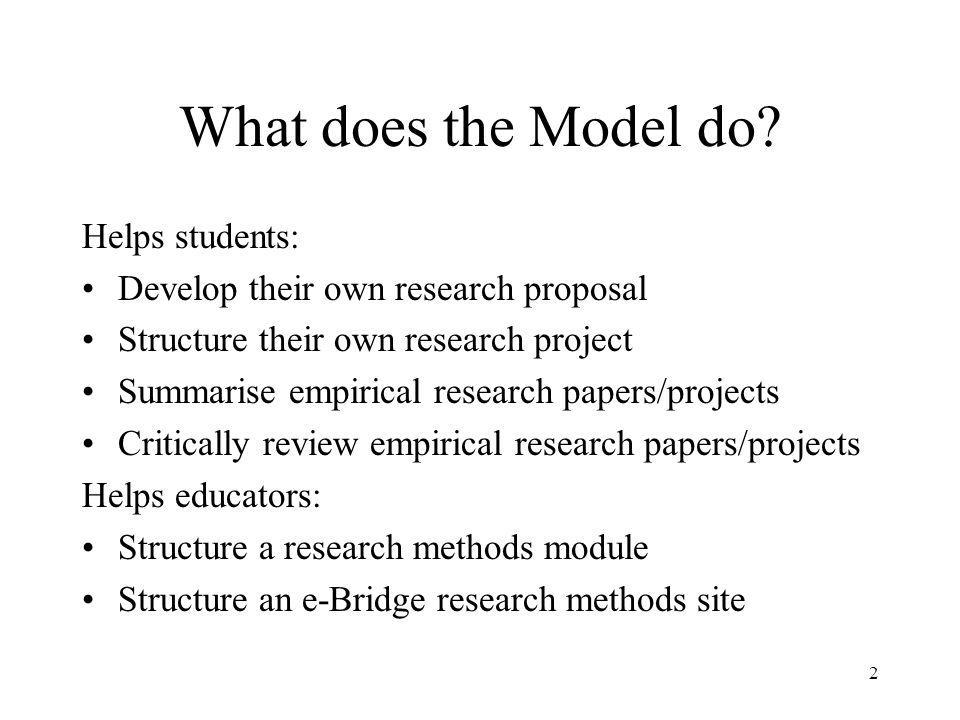 What does the Model do Helps students: