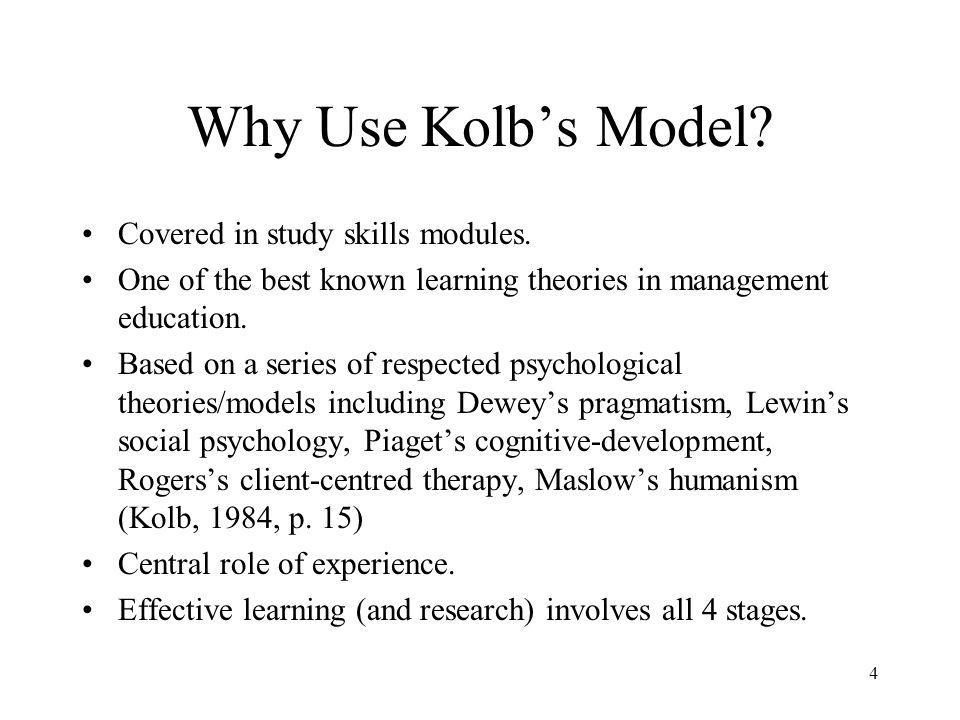 Why Use Kolb's Model Covered in study skills modules.