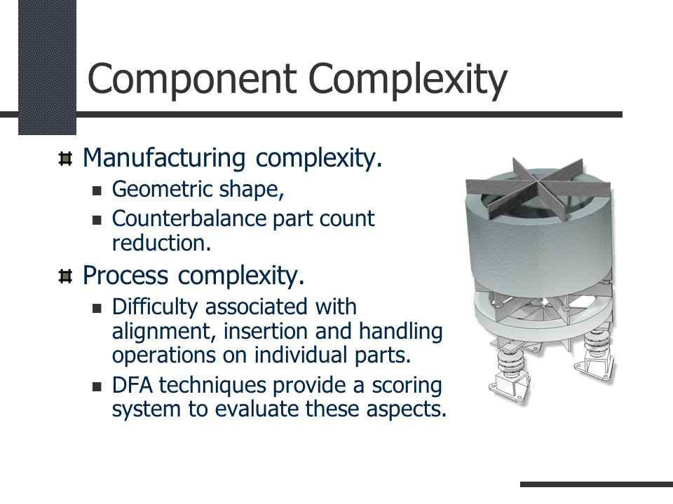 Component Complexity Manufacturing complexity. Process complexity.