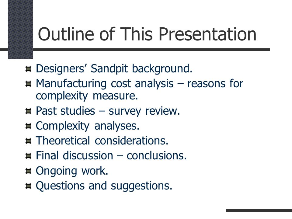Outline of This Presentation