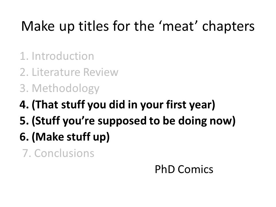 Make up titles for the 'meat' chapters