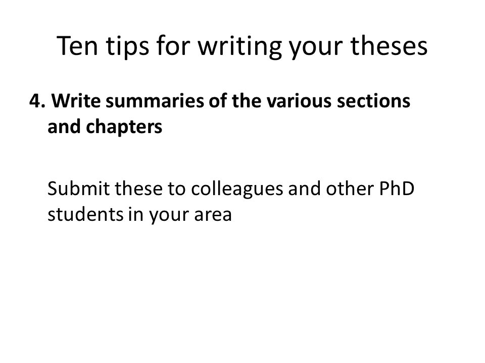 Ten tips for writing your theses