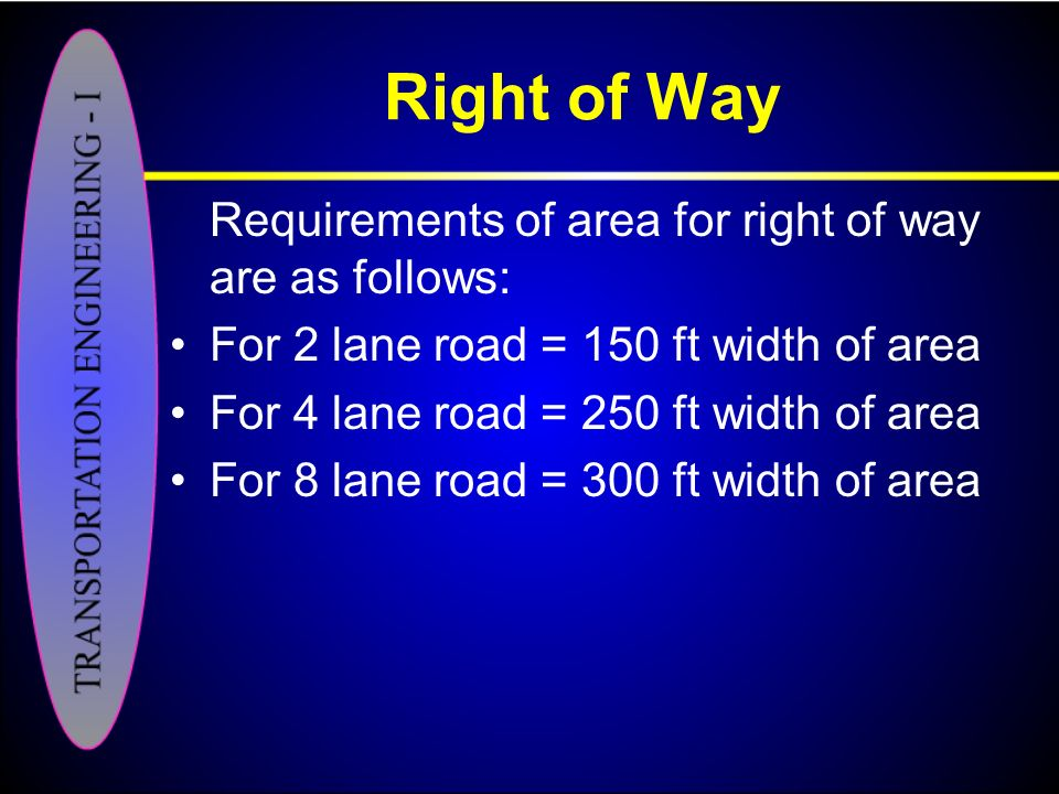 Right of Way Requirements of area for right of way are as follows: