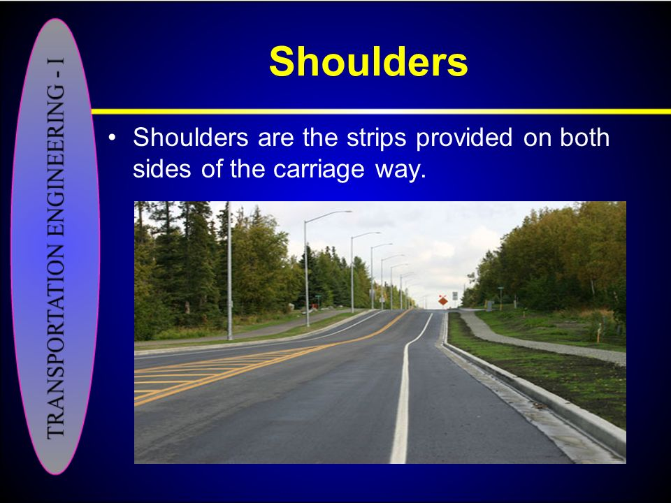 Shoulders Shoulders are the strips provided on both sides of the carriage way.