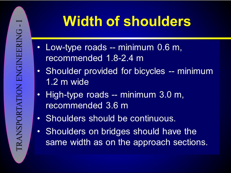 Width of shoulders Low-type roads -- minimum 0.6 m, recommended 1.8-2.4 m. Shoulder provided for bicycles -- minimum 1.2 m wide.