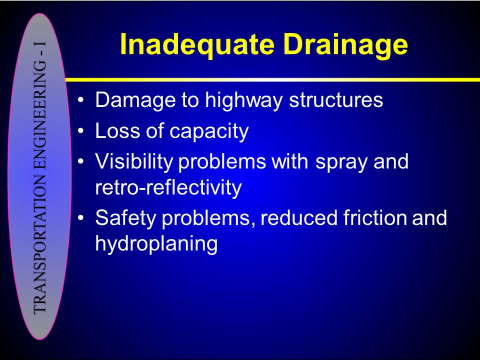 Inadequate Drainage Damage to highway structures Loss of capacity
