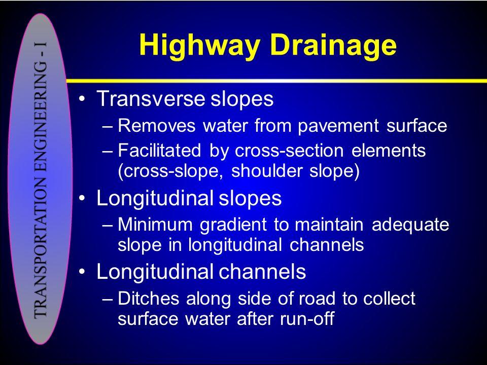 Highway Drainage Transverse slopes Longitudinal slopes