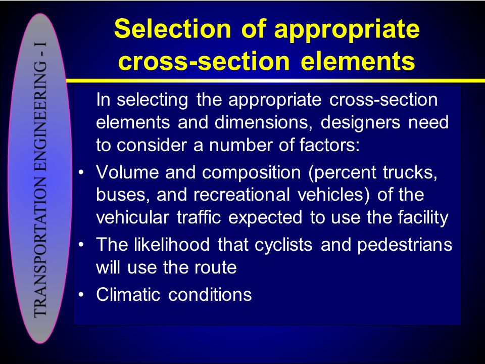 Selection of appropriate cross-section elements