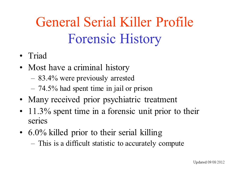 the process of criminal profiling in serial killing investigations Geographic profiling is an investigative support technique for serial violent crime investigations the process analyzes the patented criminal.