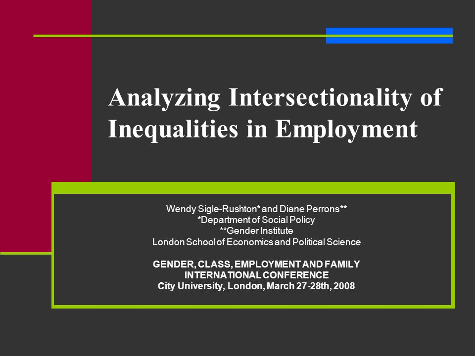 Analyzing Intersectionality of Inequalities in Employment