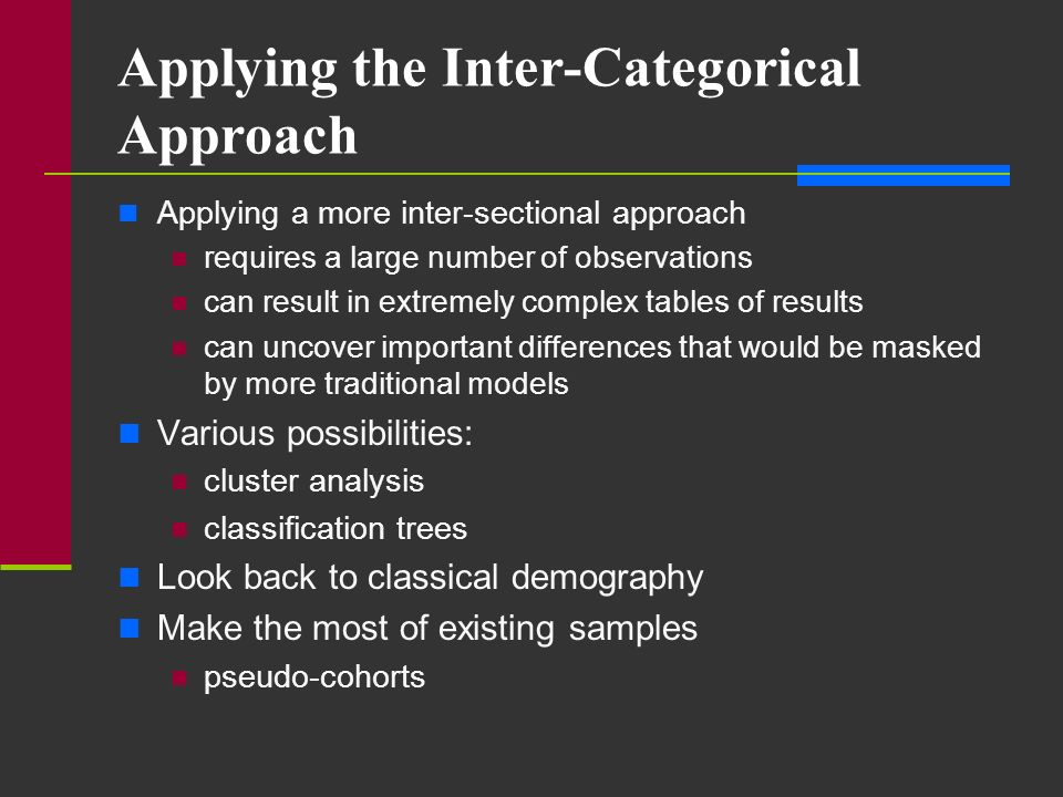 Applying the Inter-Categorical Approach