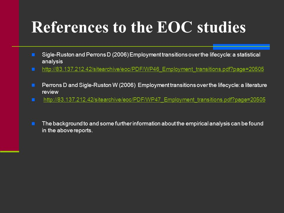 References to the EOC studies