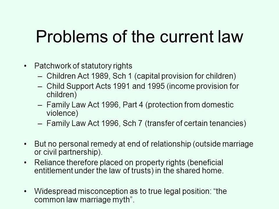 Problems of the current law