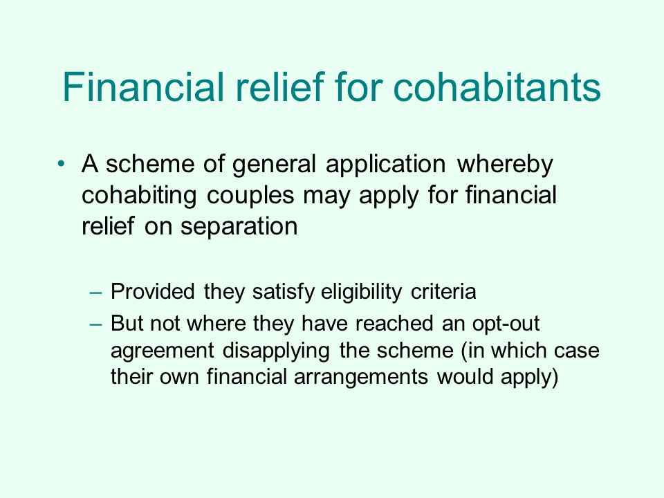 Financial relief for cohabitants