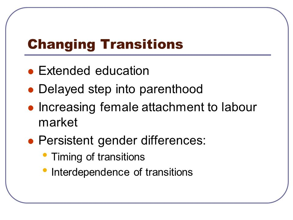 Changing Transitions Extended education Delayed step into parenthood