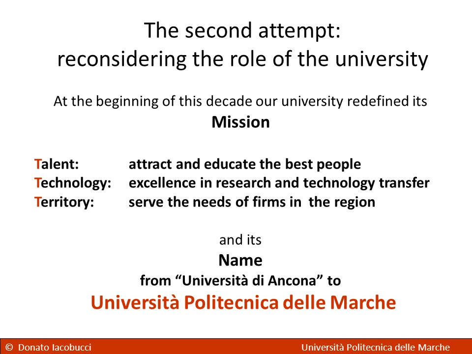 The second attempt: reconsidering the role of the university