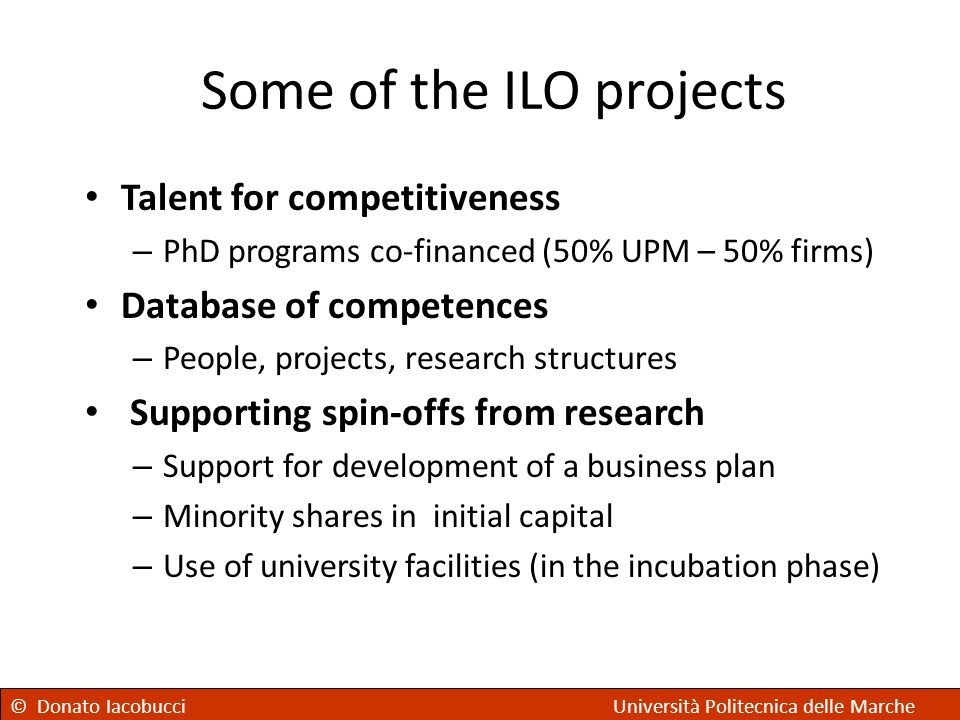 Some of the ILO projects