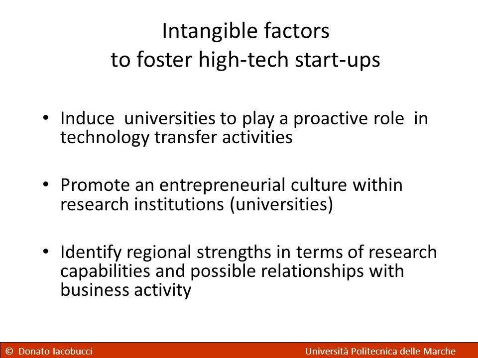 Intangible factors to foster high-tech start-ups