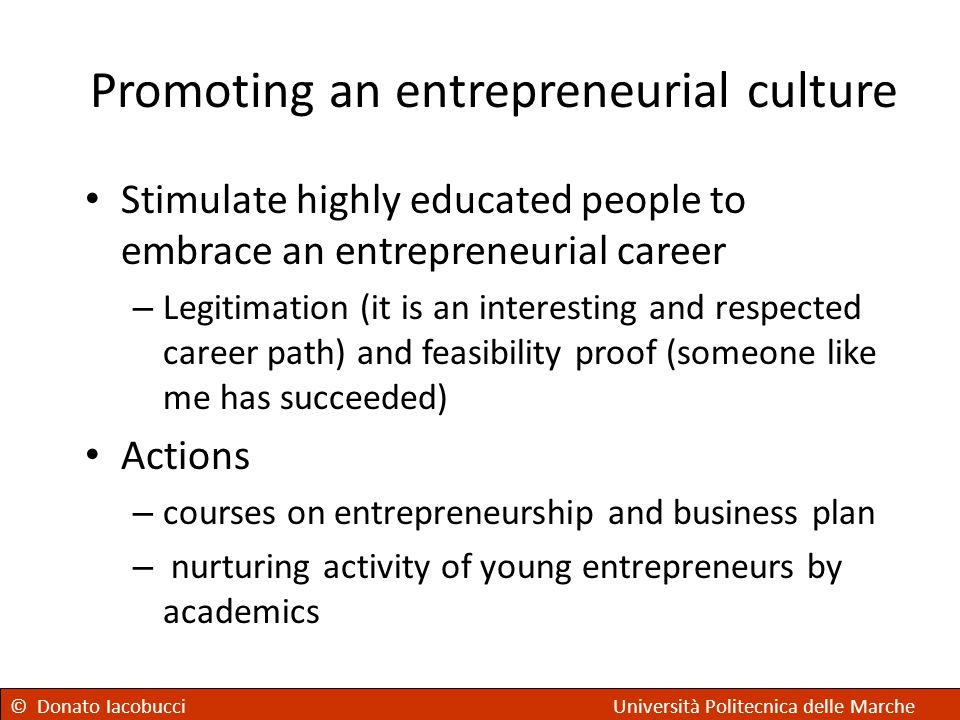 Promoting an entrepreneurial culture