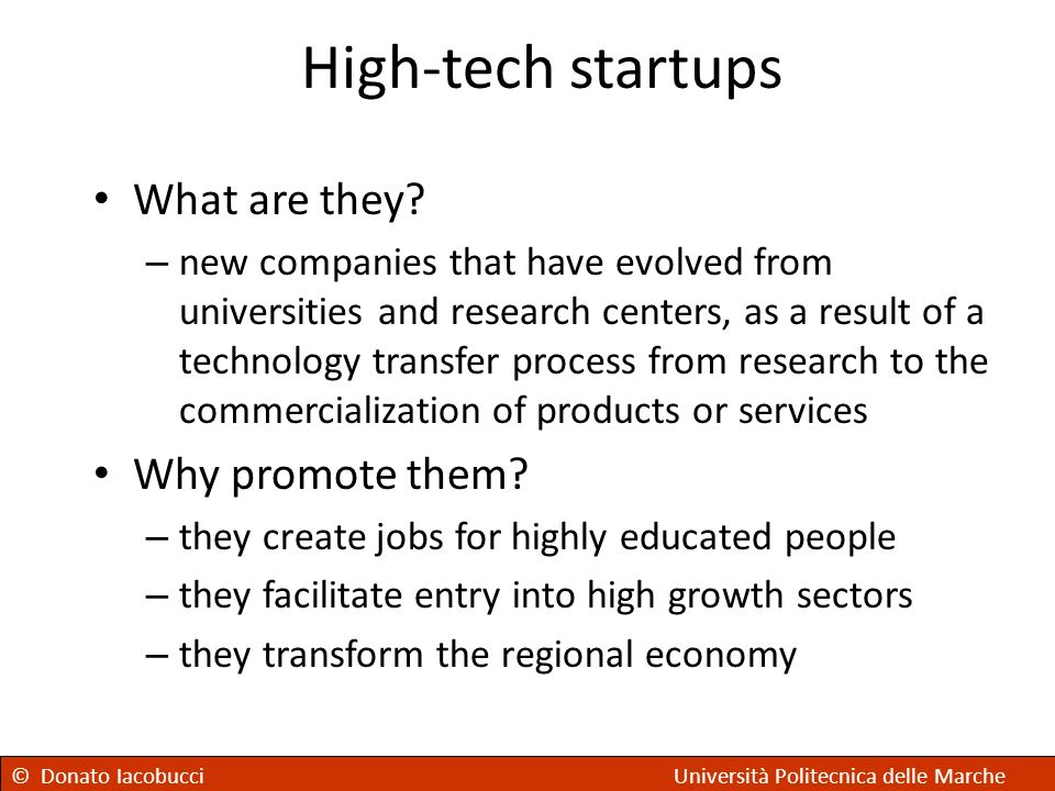 High-tech startups What are they Why promote them