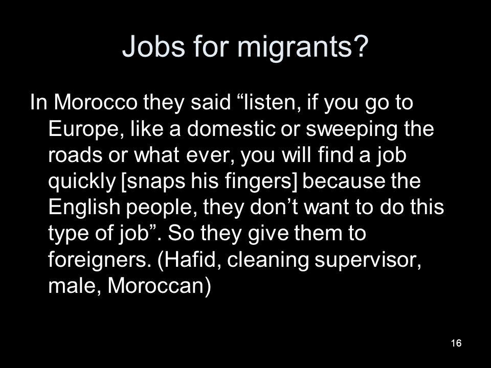 Jobs for migrants