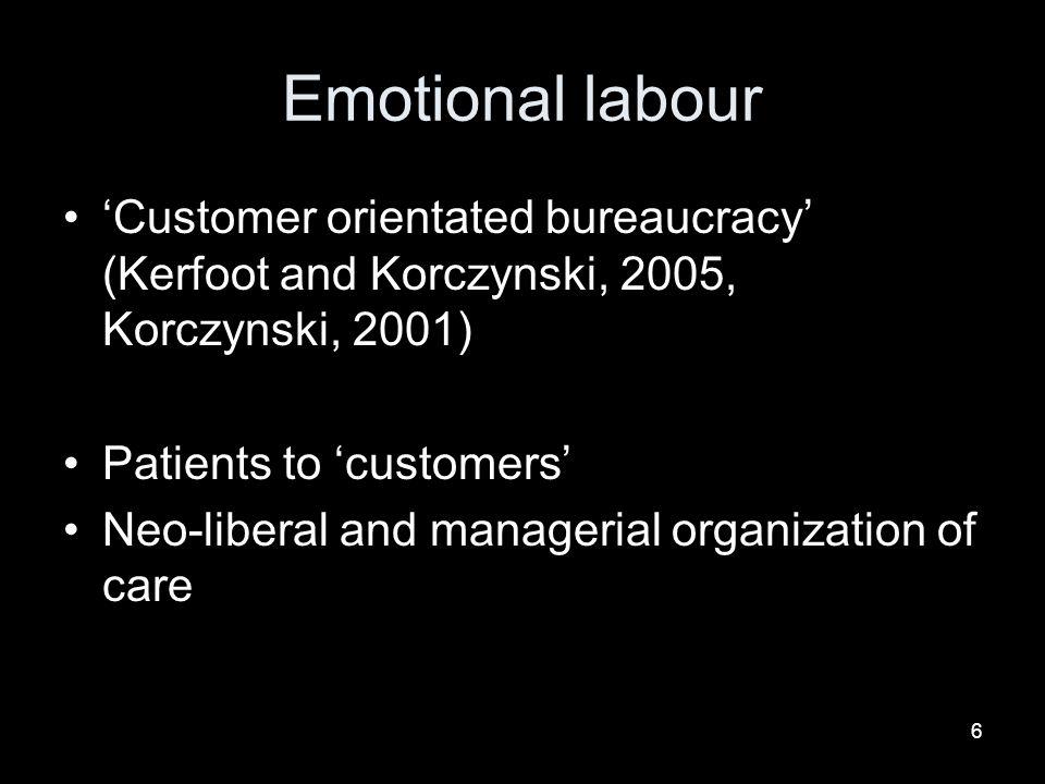 Emotional labour 'Customer orientated bureaucracy' (Kerfoot and Korczynski, 2005, Korczynski, 2001)