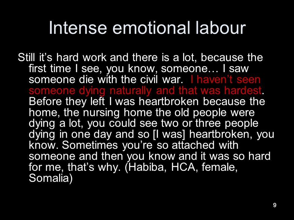 Intense emotional labour