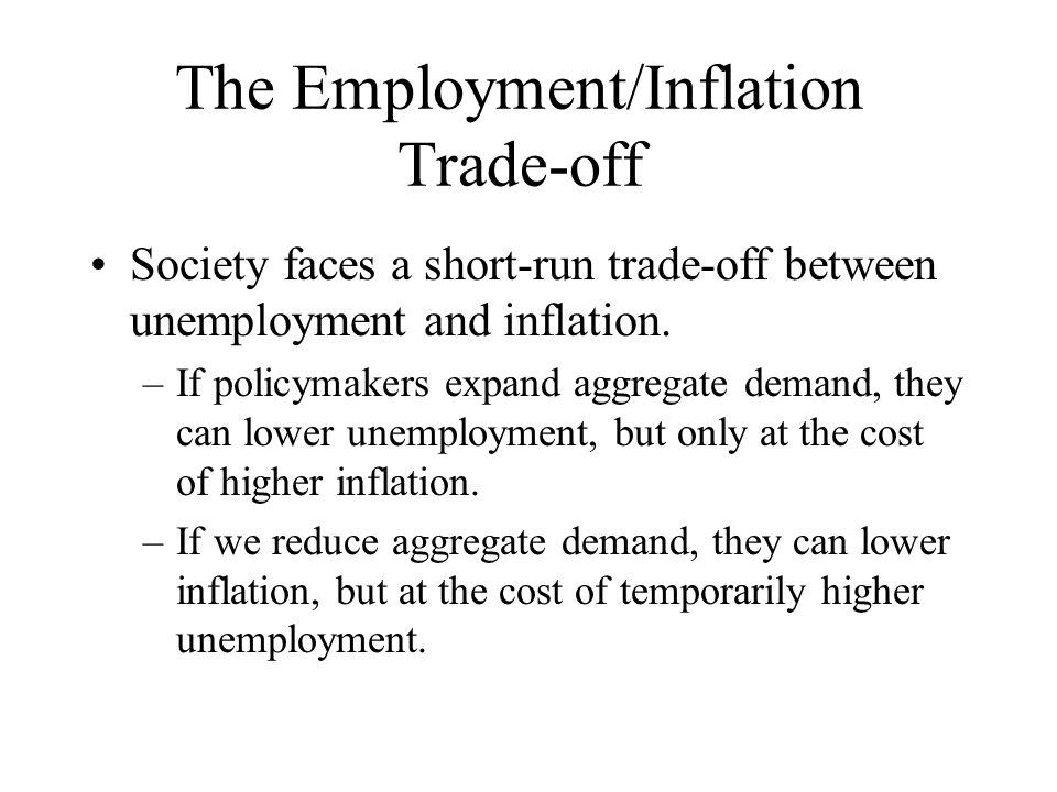 inflation and employment The relationship between inflation and unemployment: a theoretical discussion  during this time the economies of many countries achieved the full employment however.