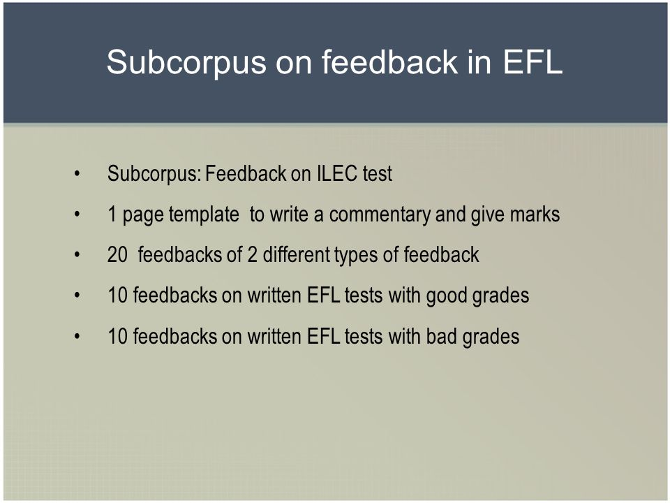 Subcorpus on feedback in EFL