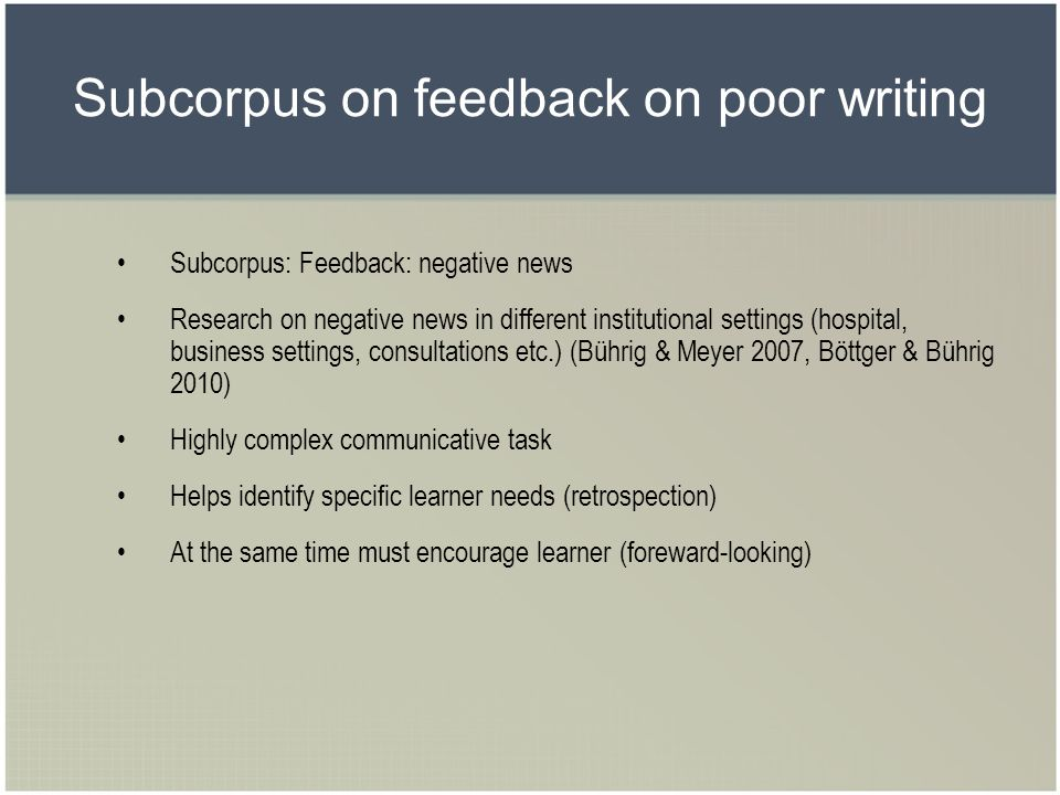 Subcorpus on feedback on poor writing