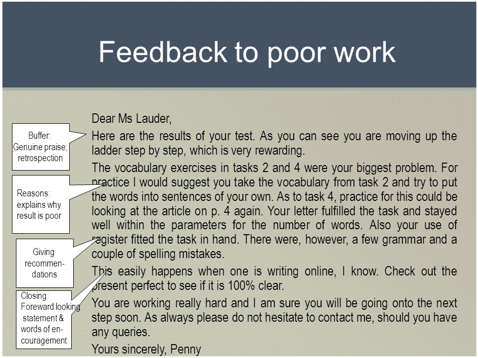 Feedback to poor work Dear Ms Lauder,