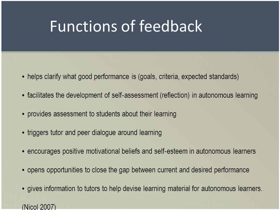 Functions of feedback helps clarify what good performance is (goals, criteria, expected standards)