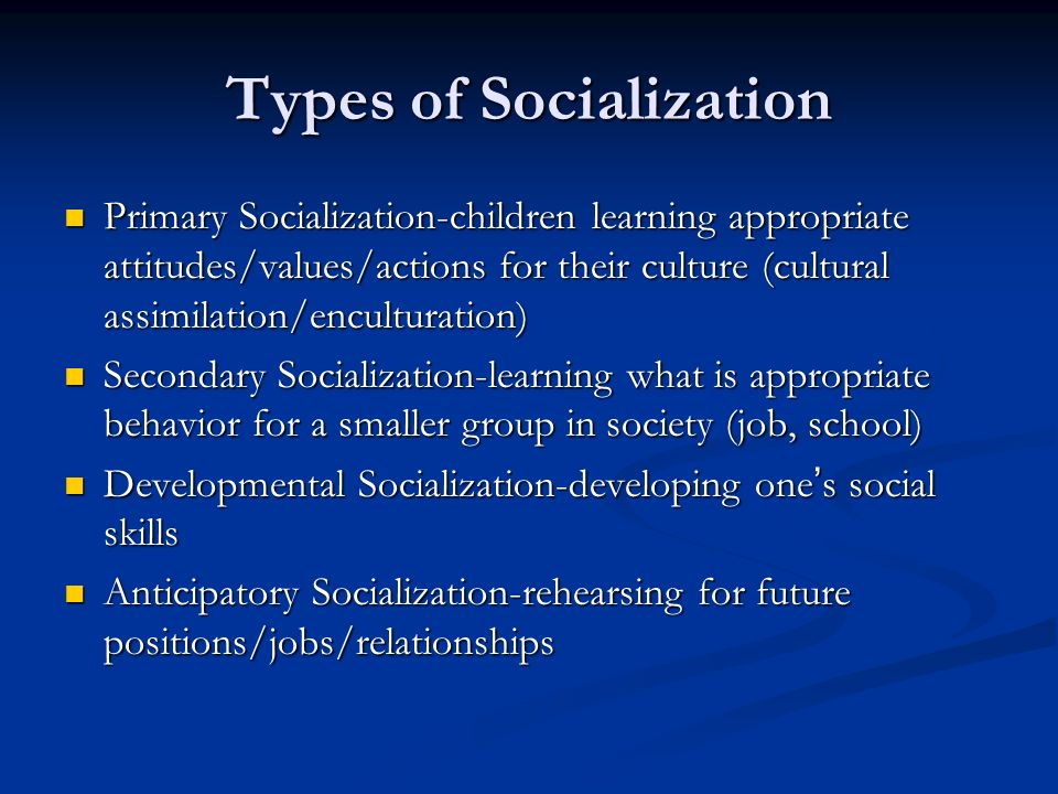 anticipatory socialization Anticipatory socialization refers to the processes of socialization in which a person rehearses for future positions, occupations, and social relationships.