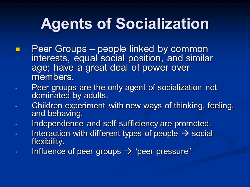 socialization agents Agents of socialization essaysyour family is the most important part of who you are your family is there for emotional support the family is where we acquire our.