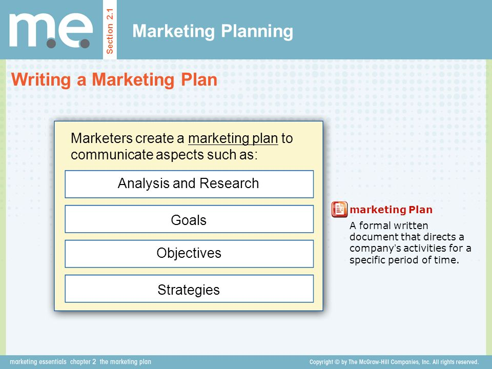 Chapter 2 The Marketing Plan Section 2.1 Marketing Planning - Ppt