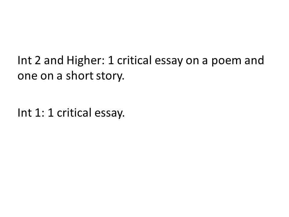 higher critical essay Writing in a way that in interesting should not be completely forgotten about when you're writing your higher english critical essay a bit.
