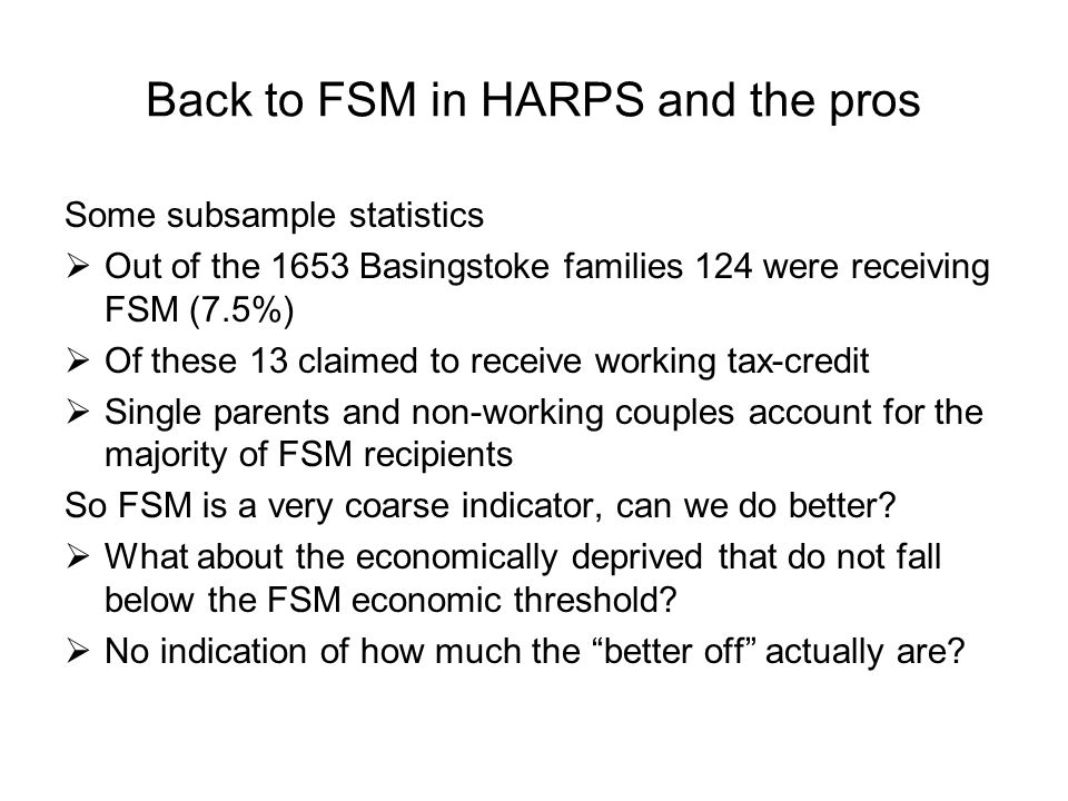 Back to FSM in HARPS and the pros