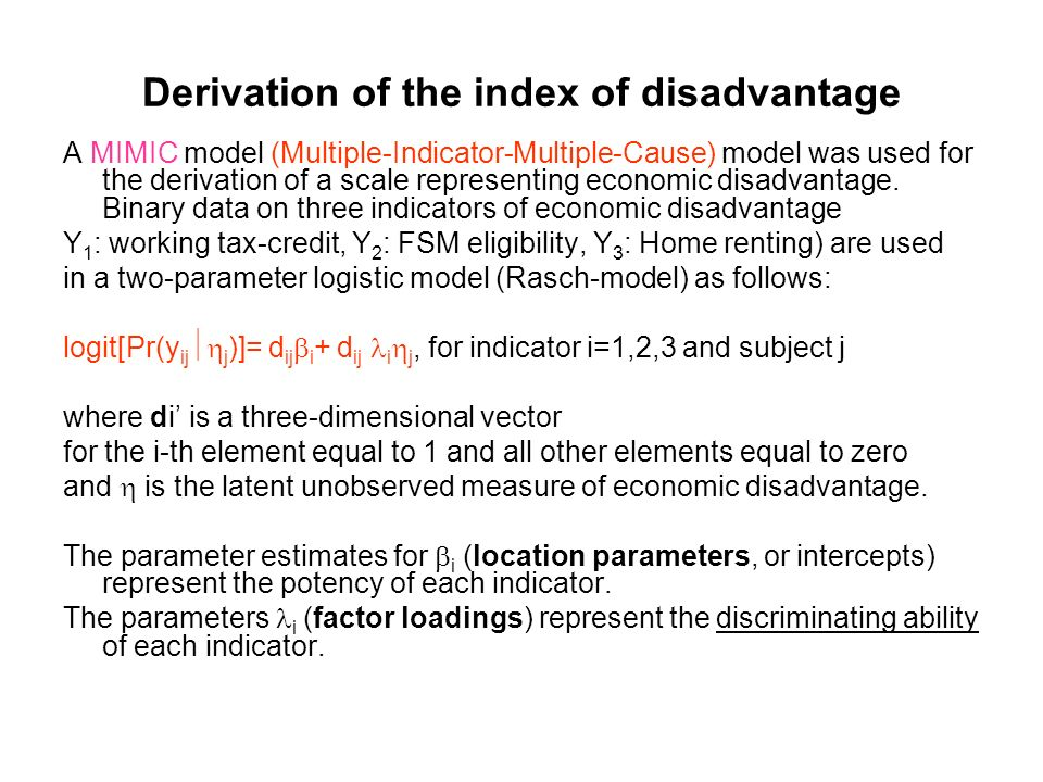 Derivation of the index of disadvantage