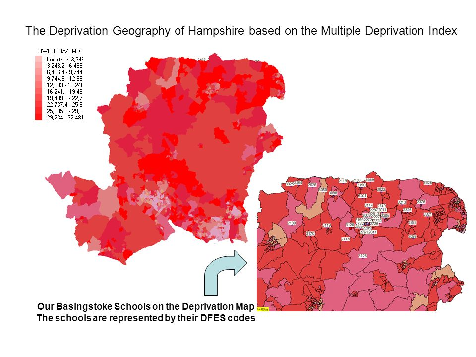 The Deprivation Geography of Hampshire based on the Multiple Deprivation Index