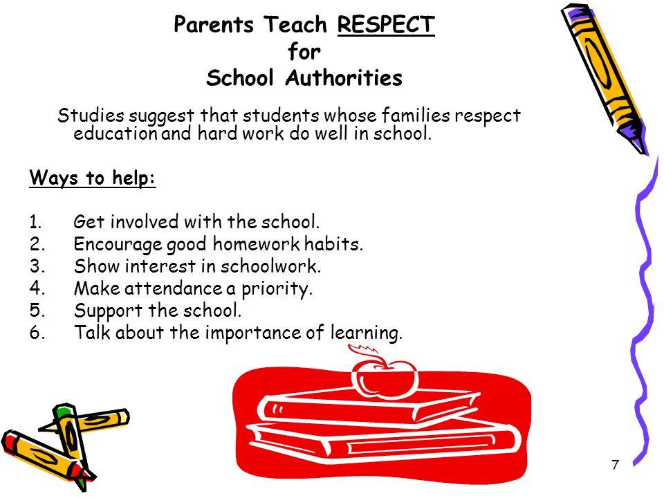 Parents Teach RESPECT for School Authorities