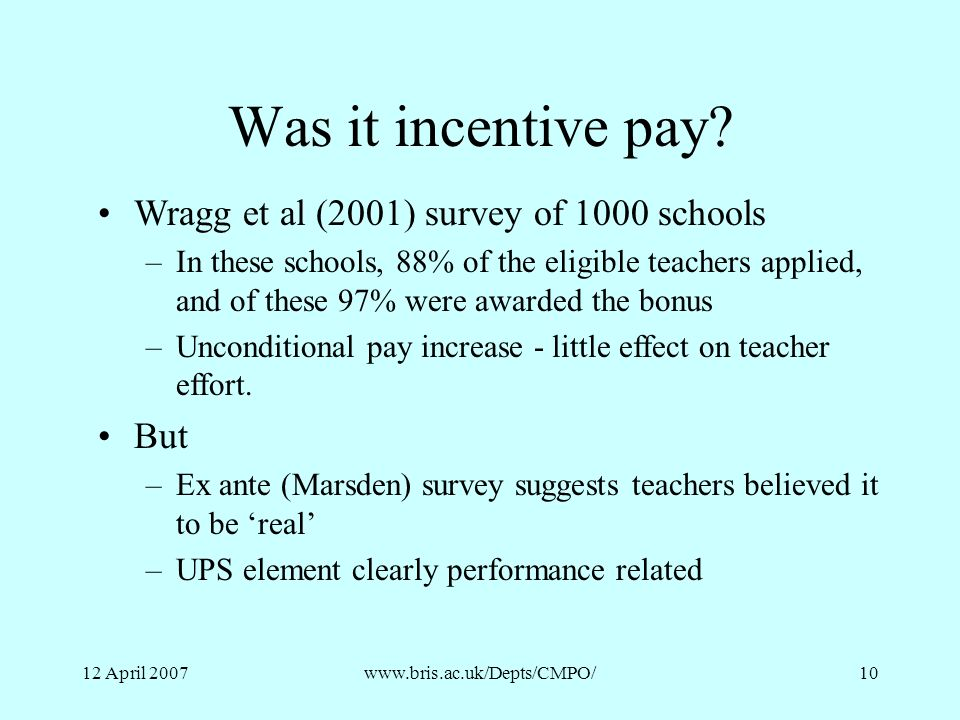 Was it incentive pay Wragg et al (2001) survey of 1000 schools But