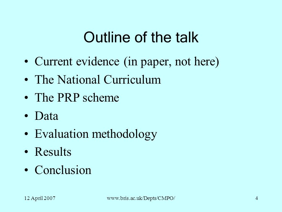 Outline of the talk Current evidence (in paper, not here)