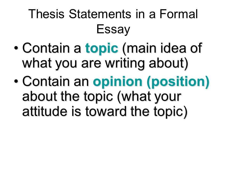 Example Of Essay Writing In English  Thesis Statements In A Formal Essay English Class Essay also Analysis Essay Thesis Creating A Thesis Statement  Ppt Video Online Download Descriptive Essay Topics For High School Students