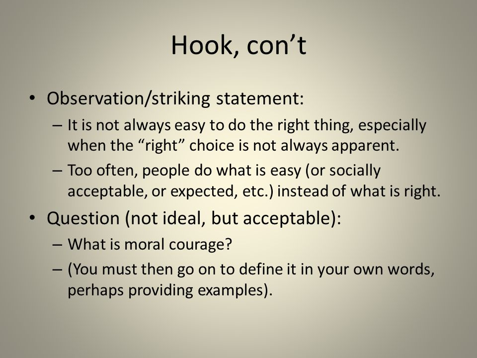 "developing your ""moral courage"" essay ppt video online  3 hook"