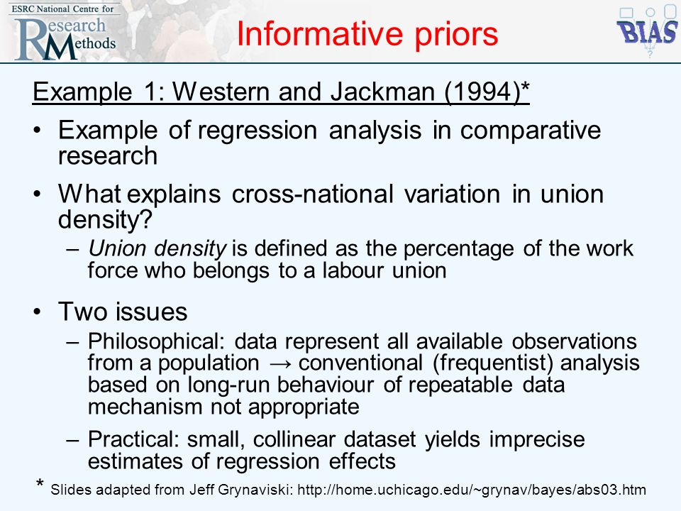 Informative priors Example 1: Western and Jackman (1994)*