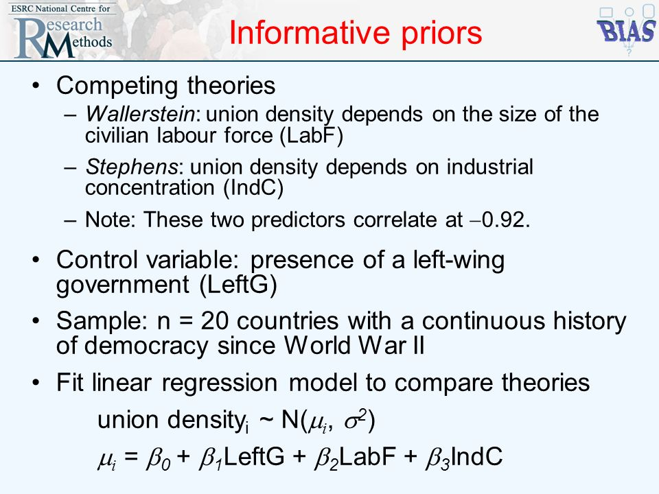 Informative priors Competing theories