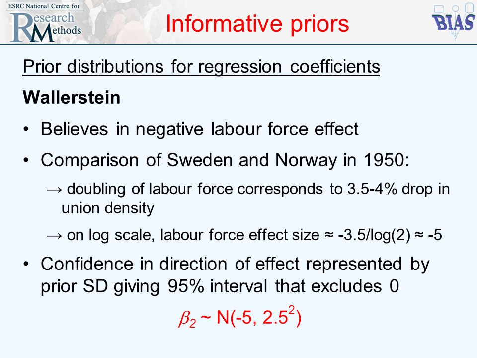 Informative priors Prior distributions for regression coefficients