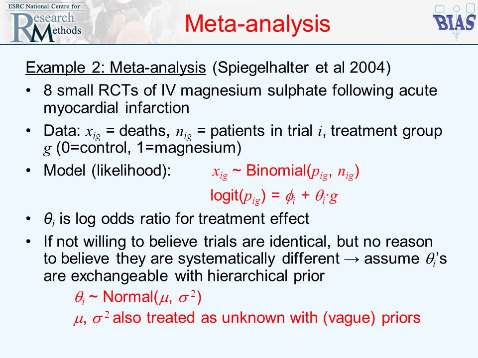 Meta-analysis Example 2: Meta-analysis (Spiegelhalter et al 2004)