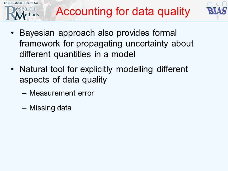 Accounting for data quality