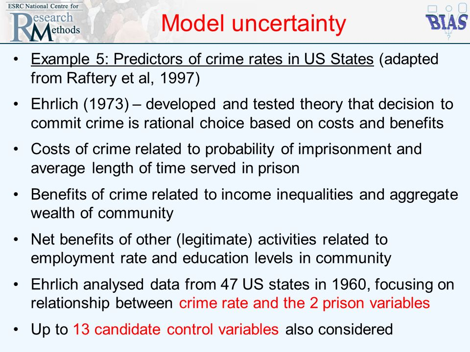 Model uncertainty Example 5: Predictors of crime rates in US States (adapted from Raftery et al, 1997)